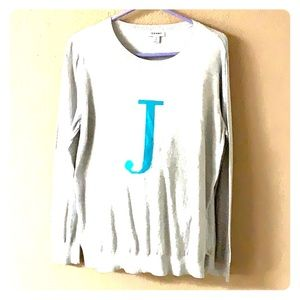 "Ladies Old Navy initial ""J""  lightweight sweater."
